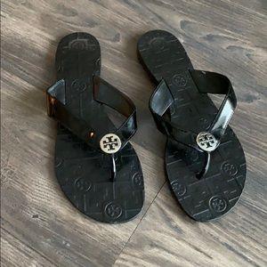 Tory Burch black leather sandals flip flops size 8